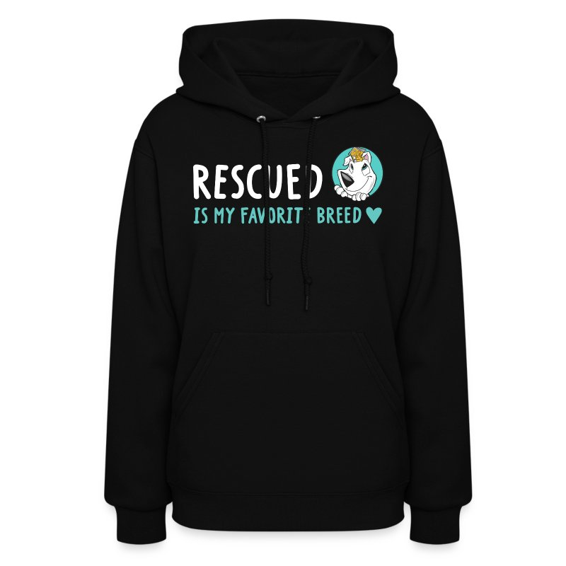 Rescued Is My Favorite Breed (I Heart Family Dog Rescue on Back): Woman's Hoodie - Women's Hoodie