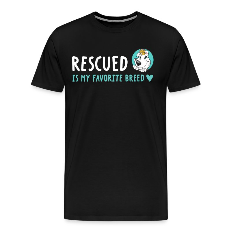 Rescued Is My Favorite Breed (I Heart Family Dog Rescue on Back): Men's Tee - Men's Premium T-Shirt