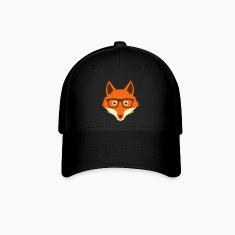 Sweet Funny hipster fox with nerd glasses Caps
