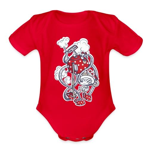 Organic Short Sleeve Baby Bodysuit - time,tea,t-shirt,kid,funny,fun,cool