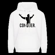 Hoodies ~ Men's Hooded Sweatshirt ~ CONQUER Arnie White Hoodie