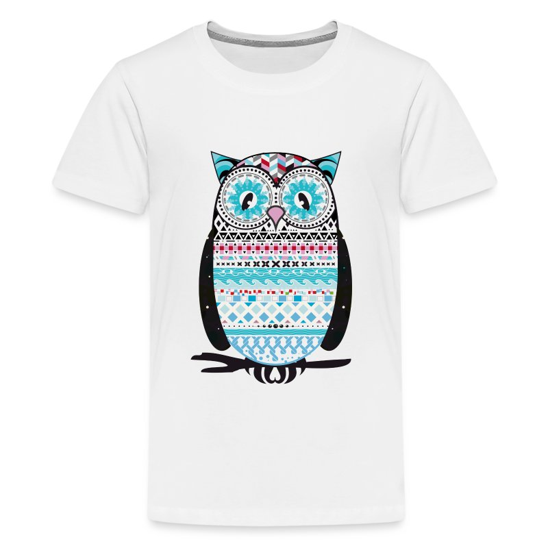 Colorfully patterned owl t shirt spreadshirt T shirt with owl design