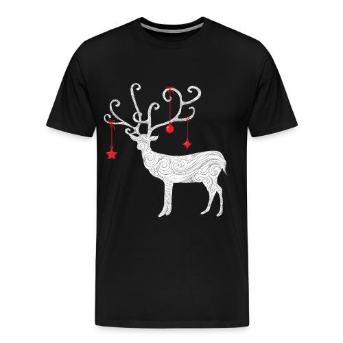 Xmas White Abstract Reindeer - Men's Premium T-Shirt