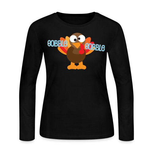 Cute Gobble Gobble Turkey - Women's Long Sleeve Jersey T-Shirt