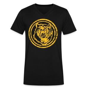 Circle Yellow Bear - Men's V-Neck T-Shirt by Canvas