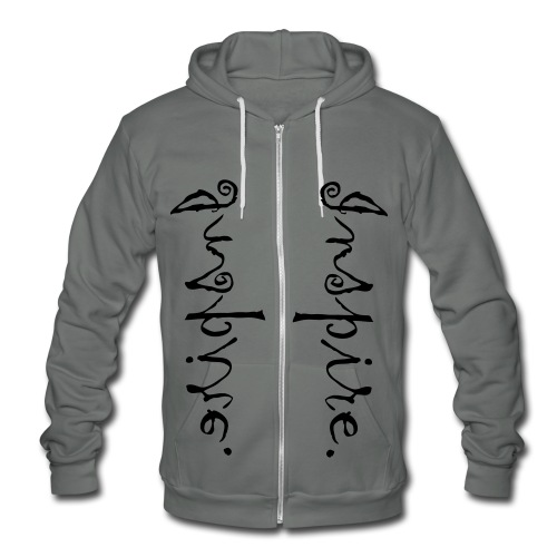 Inspire. Just one word can change the world. Double Print! - Unisex Fleece Zip Hoodie by American Apparel