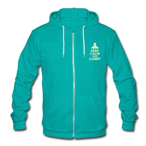 Ladies Zipped Hoodie: Keep Calm - Unisex Fleece Zip Hoodie by American Apparel