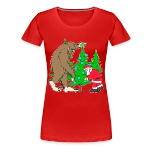 Bigfoot, Santa Christmas - Women's Premium T-Shirt