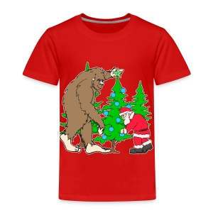 Bigfoot, Santa Christmas - Toddler Premium T-Shirt