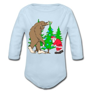 Bigfoot, Santa Christmas - Long Sleeve Baby Bodysuit