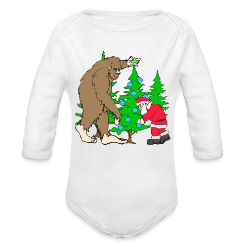 Bigfoot, Santa Christmas - Organic Long Sleeve Baby Bodysuit