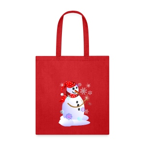 Christmas Snowman Catching Snowflakes - Tote Bag