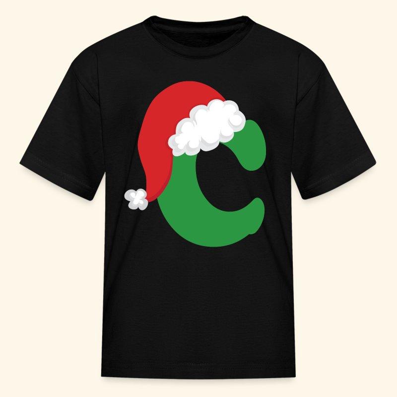 Letter C Christmas Monogram Cute Kids T Shirt T Shirt