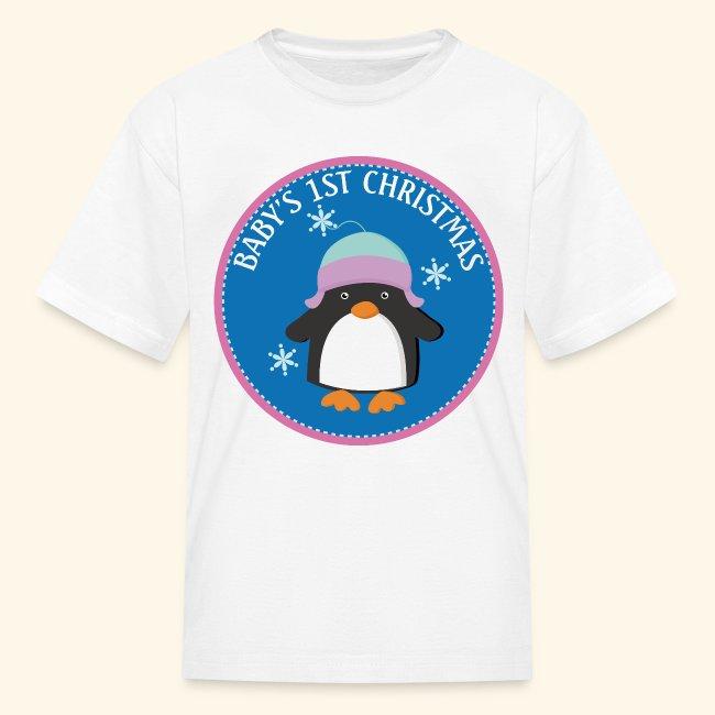 Baby's 1st Christmas Penguin Cute Kids T-shirt