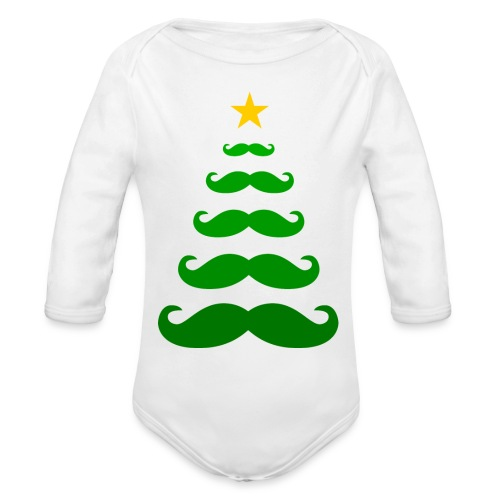 Moustache Christmas Tree - baby one piece (long sleeved) - Organic Long Sleeve Baby Bodysuit