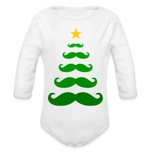 Moustache Christmas Tree - baby one piece (long sleeved) - Organic Long Sleeve Baby Bodysuit