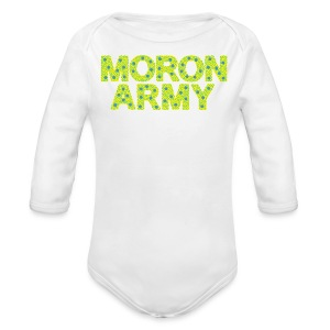 MORON ARMY - Smiles and paws (baby pjs white) - Long Sleeve Baby Bodysuit