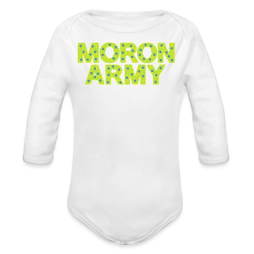 MORON ARMY - Smiles and paws (baby pjs white) - Organic Long Sleeve Baby Bodysuit