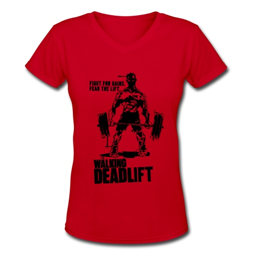 Zombie Walking Deadlift | Womens tee - Women's V-Neck T-Shirt