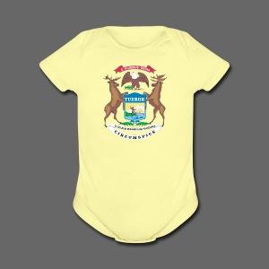 Michigan Flag - Short Sleeve Baby Bodysuit