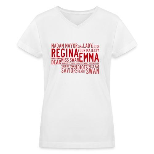 Swan Queen Nicknames v1 - Women's V-Neck T-Shirt