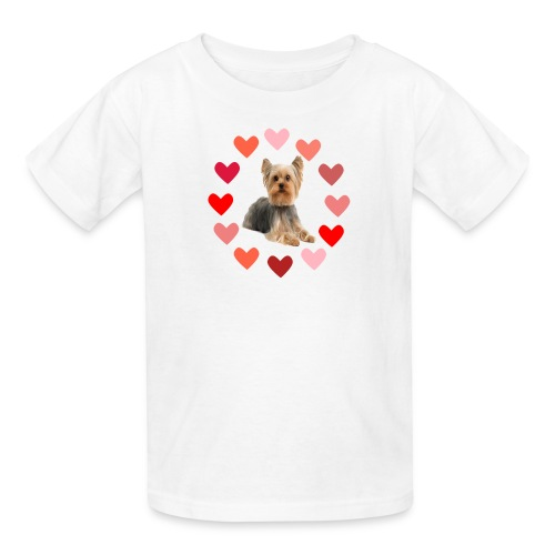 YORKIE IN CIRCLE OF HEARTS - Kids' T-Shirt