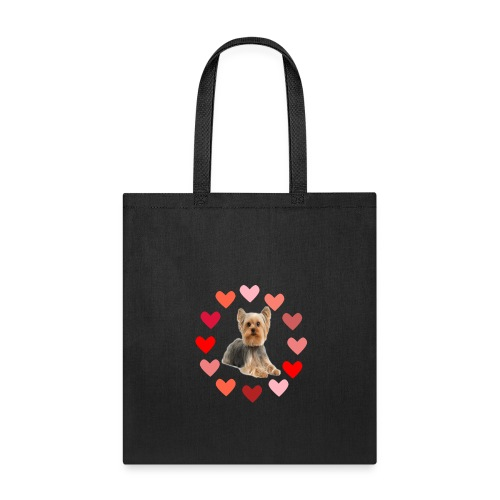 YORKIE IN CIRCLE OF HEARTS - Tote Bag