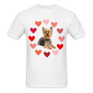 YORKIE IN CIRCLE OF HEARTS - Men's T-Shirt