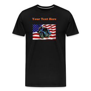 Men's Premium T-Shirt - Turning V-Twin power loose on the streets! This premium t-shirt is as close to perfect as can be, and has a relaxed but tailored fit. It's optimized for all types of print and will quickly become you favorite t-shirt. Soft, comfortable, and durable. Fabric Weight of 5.29 oz. Sizes range from S-5XL. Ash is made of 90% cotton/10% polyester and heather gray is made from 99% cotton/1% polyester. Image and text is located on the BACK of the shirt. You, the customer can change the text in content, size, or color to what you desire, or delete the text for a lower price. Image only size is approximately  8.4 inches x 5.5 inches.