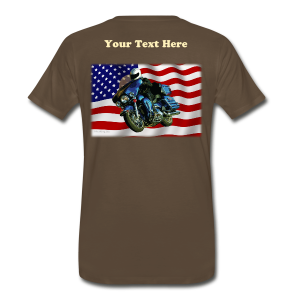 Men's Premium T-Shirt - Turning V-Twin power loose on the streets! This premium t-shirt is as close to perfect as can be, and has a relaxed but tailored fit. It's optimized for all types of print and will quickly become you favorite t-shirt. Soft, comfortable, and durable. Fabric Weight of 5.29 oz. Sizes range from S-5XL. Ash is made of 90% cotton/10% polyester and heather gray is made from 99% cotton/1% polyester. Image and text is located on the BACK of the shirt. You, the customer can change the text in content, size, or color to what you desire, or delete the text for a lower price. Image only size is approximately  12.0 inches x 7.8 inches.