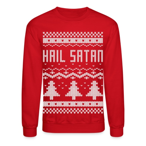 Ugly Hail Satan Christmas Sweater - Crewneck Sweatshirt