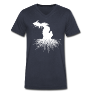 T-Shirts ~ Men's V-Neck T-Shirt by Canvas ~ Michigan Roots
