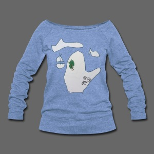 4 Year Old's Map Of Michigan - Women's Wideneck Sweatshirt