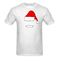 T-Shirts ~ Men's T-Shirt ~ Santa Hat and Mustache Men's Shirt