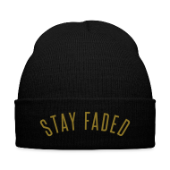 Caps ~ Knit Cap with Cuff Print ~ Stay Faded - Metallic Gold