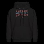 Hoodies ~ Men's Hoodie ~ Vampires? Dragons! Hoodie (Red and Blue Ink - Unisex)