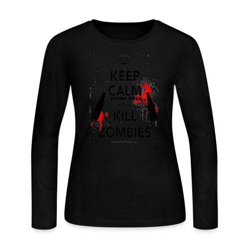 Keep Calm Drink Beer And Kill Zombies Women's Long Sleeve T-Shirt - Women's Long Sleeve Jersey T-Shirt