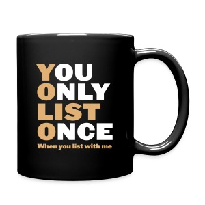 You Only List Once blk mug left - Full Color Mug