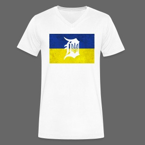 Detroit Ukraine Flag D - Men's V-Neck T-Shirt by Canvas