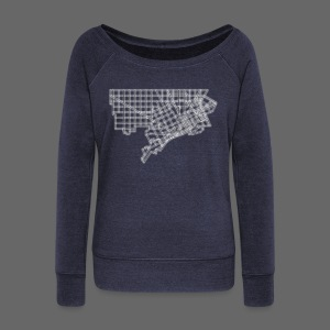 Detroit Street Map - Women's Wideneck Sweatshirt