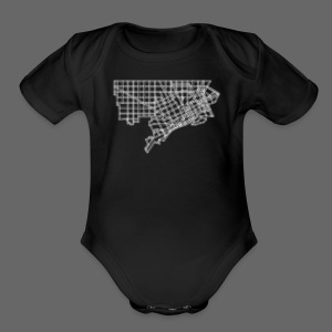 Detroit Street Map - Short Sleeve Baby Bodysuit