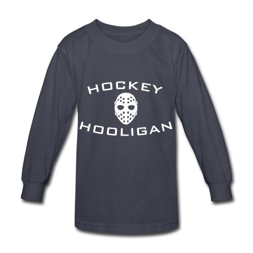 Hockey Hooligan Youth Long Sleeve T-Shirt - Grey with White Logo - Kids' Long Sleeve T-Shirt
