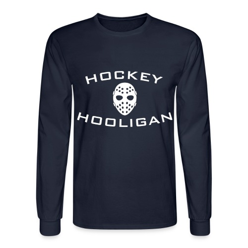 Hockey Hooligan Men's Long Sleeve T-shirt - Navy with White Logo - Men's Long Sleeve T-Shirt
