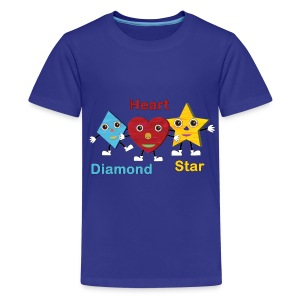 Shapes Trio With Diamond, Heart and Star - Kids' Premium T-Shirt