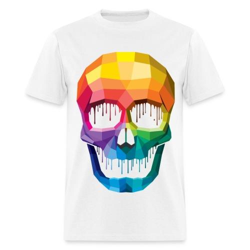 Men's White T-Shirt w/ Colorful Skull - Men's T-Shirt