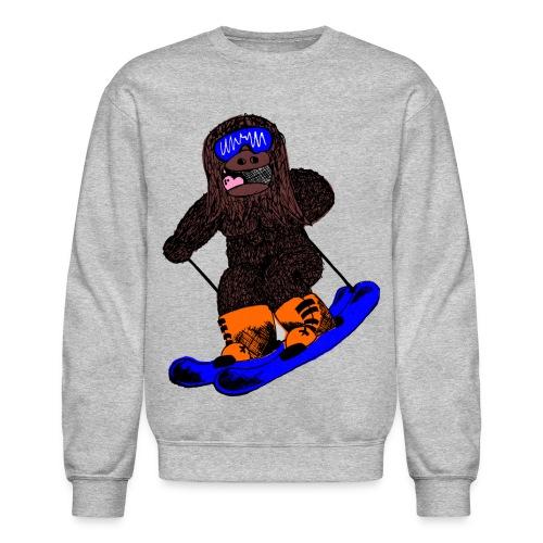 Skiing Sasquatch Pullover Crew Sweatshirt - Crewneck Sweatshirt