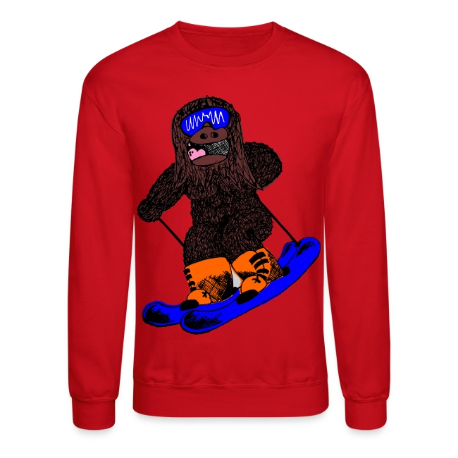 Skiing Sasquatch Pullover Crew Sweatshirt