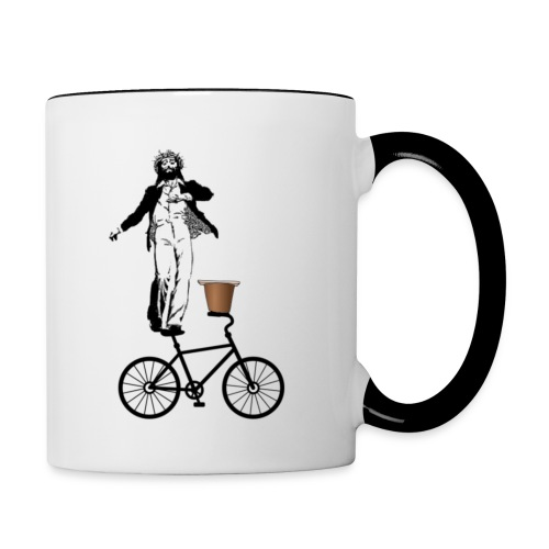 Jesus H, Tap-dancing Christ On A Bike With A Side Of Pudding - Contrast Coffee Mug