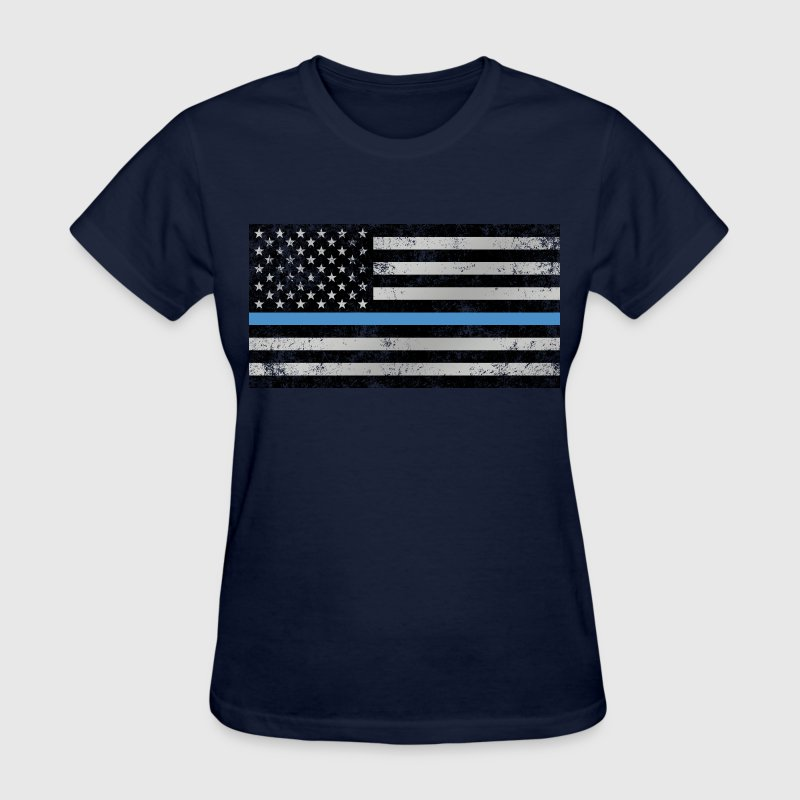 Thin Blue Line American Flag (distressed) - Women's T-Shirt
