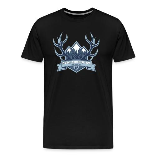 B3 REAL MEN HUNT Black Tee Shirt - Men's Premium T-Shirt